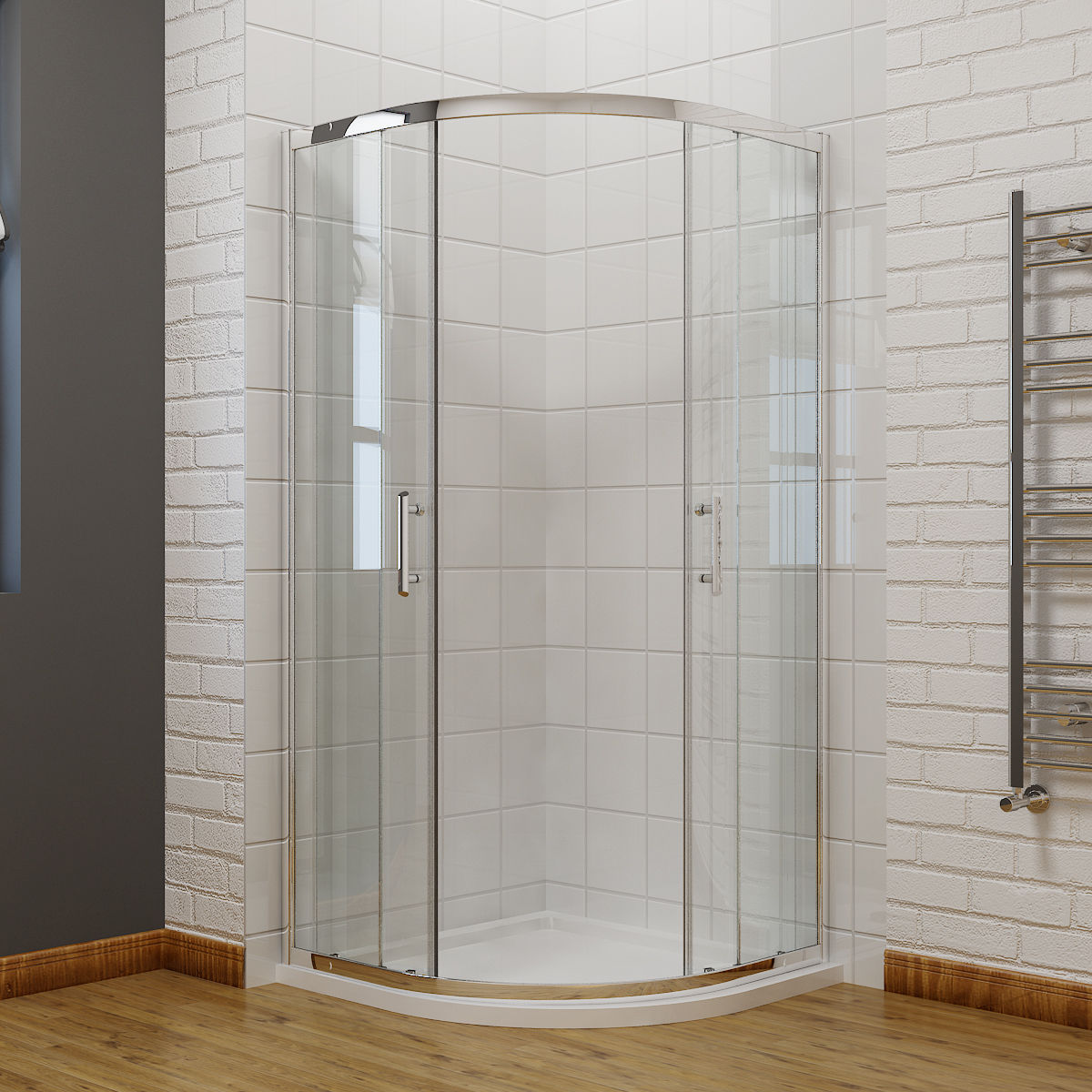 New 35 4 x35 4 neo round frameless sliding shower enclosure chrome promotion ebay - Corner shower doors ...