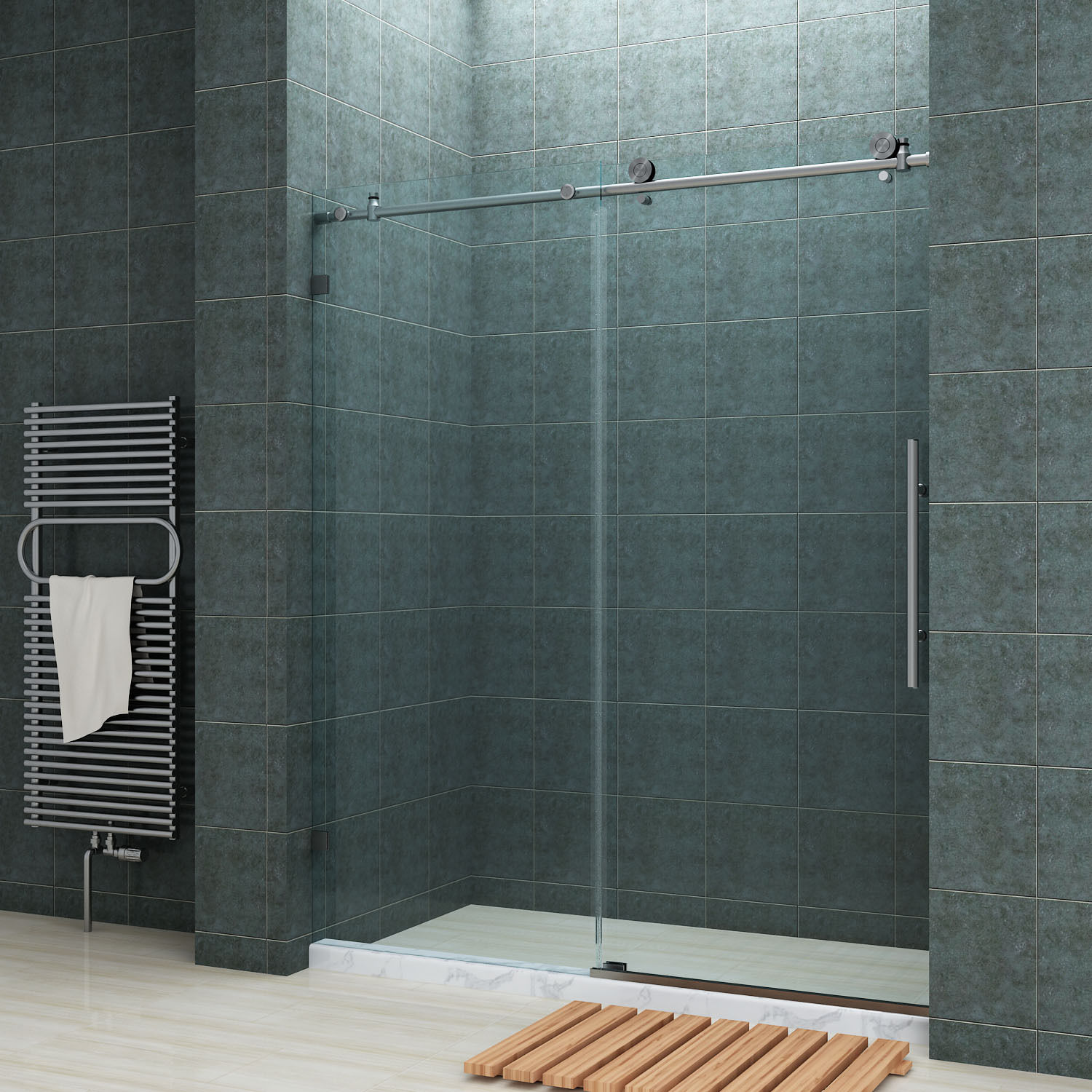 Bathroom Sliding Glass Doors: SUNNY SHOWER Fully Frameless Sliding Shower Doors 60