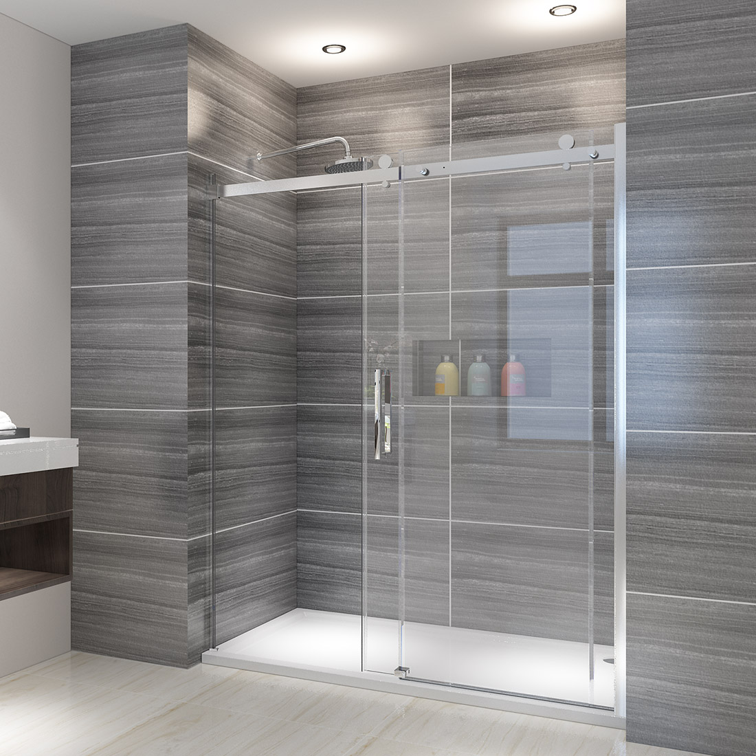 Details About Elegant Showers Semi Frameless Sliding 5 16 Glass Shower Doors 58 5 60 W Chrome