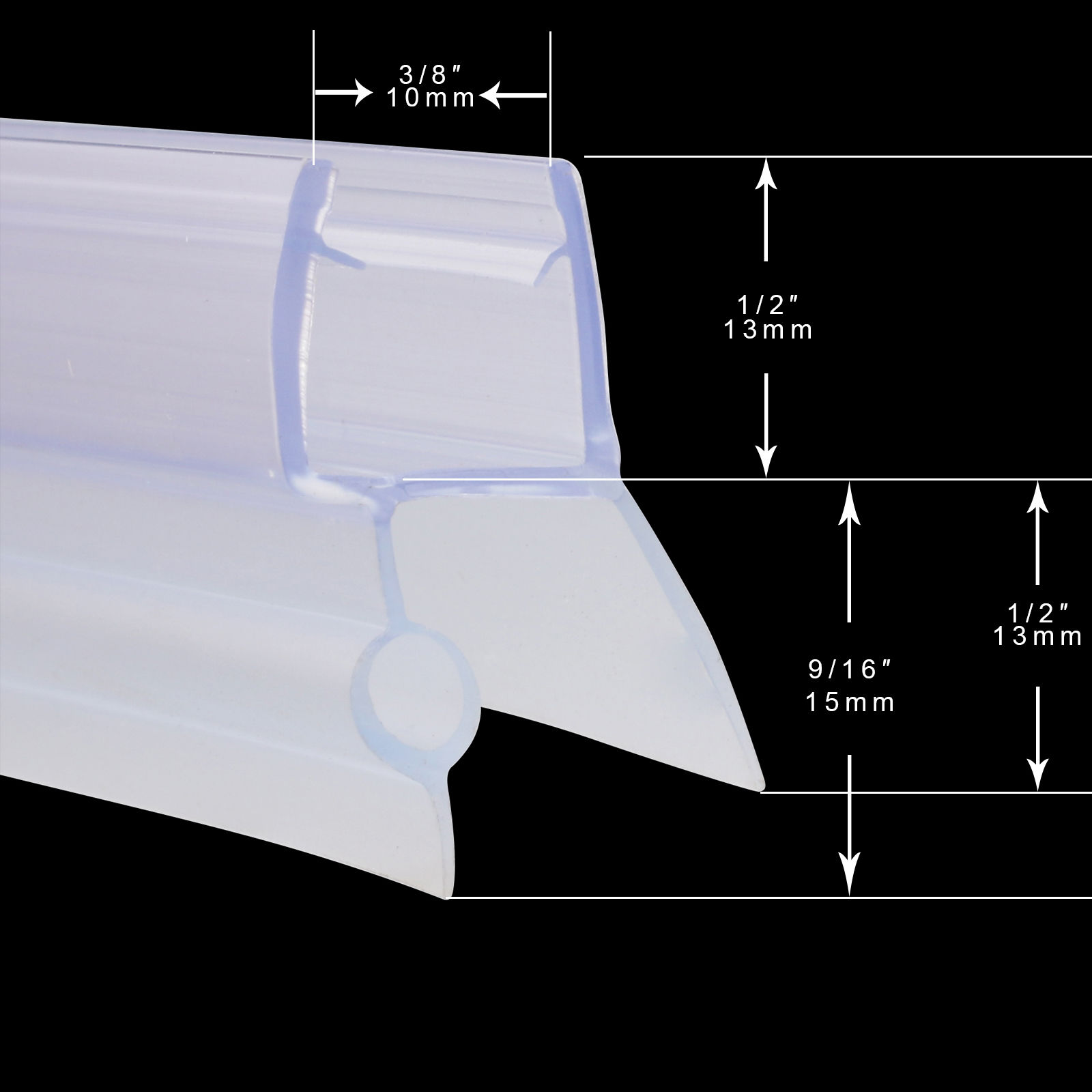 Details About Sunny Shower Door Seal Strip For 3 8 Inch Glass Shower Door Bottom Seal 36 In L