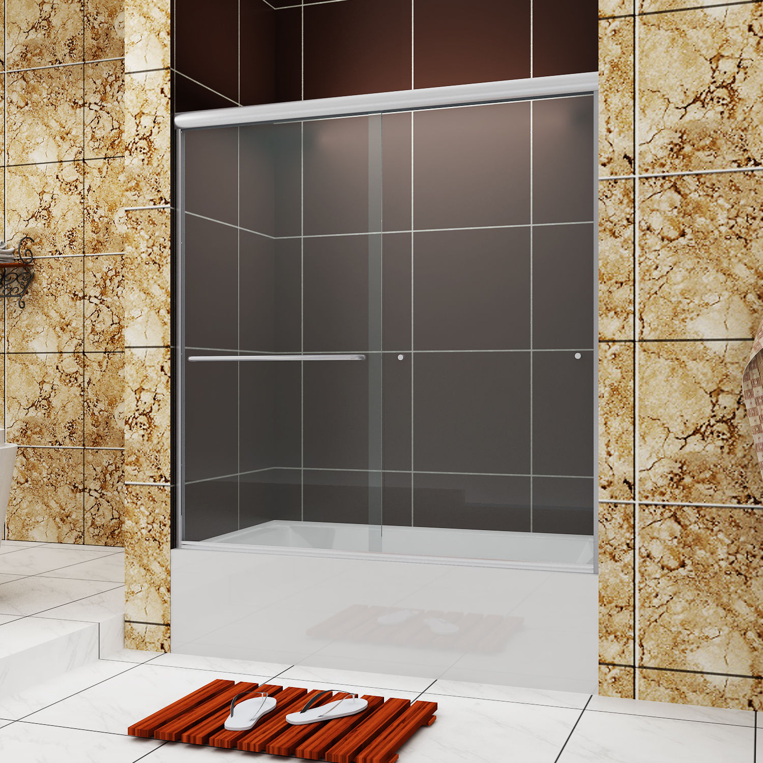 Details About Sunny Shower Semi Frameless Sliding Bypass Bathtub Doors 60 W Brushed Nickel