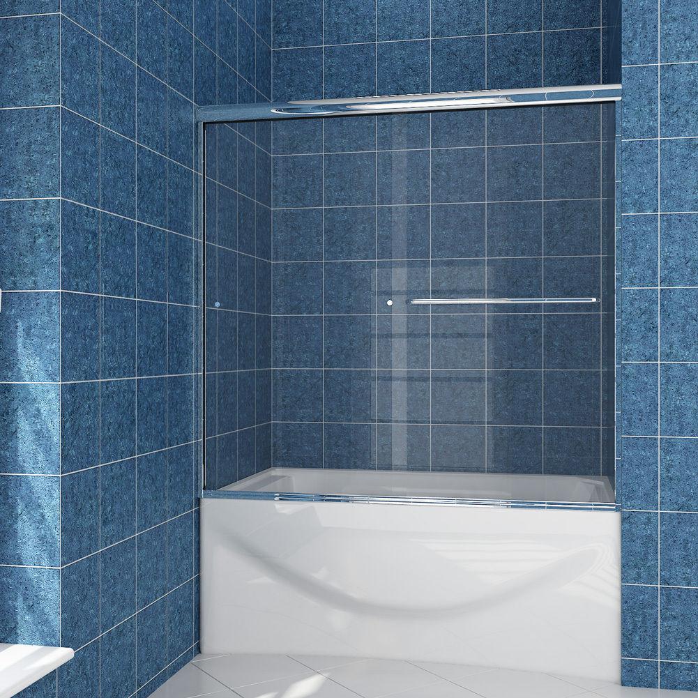 SUNNY SHOWER Semi-Frameless Glass BathTub Shower Doors 60\
