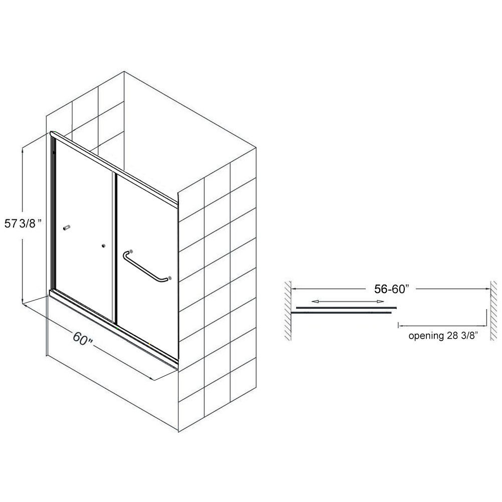 """Standard Tub Size And Other Important Aspects Of The Bathroom: SUNNY SHOWER 60"""" Bypass 2 Sliding Bathtub Door 1/4"""