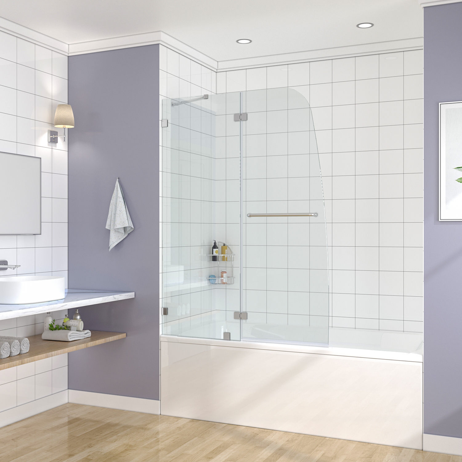 Details About Sunny Shower Frameless Hinged Tub Doors 48 In With 5 16 In Clear Glass Chrome