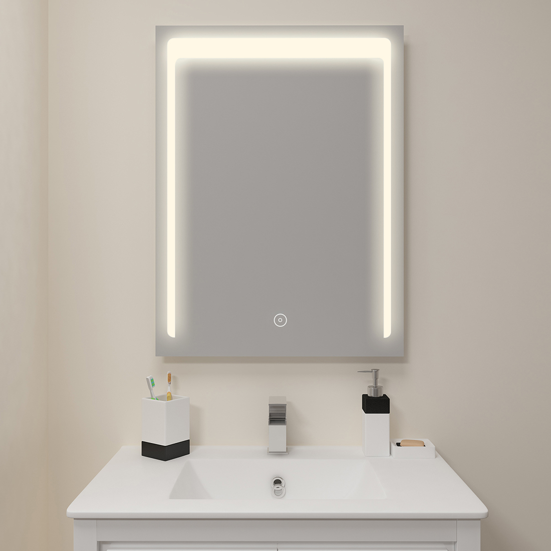 """Details about SUNNY SHOWER LED Lighted Bathroom Vanity Mirror Touch Button  24""""x32"""" fogless"""