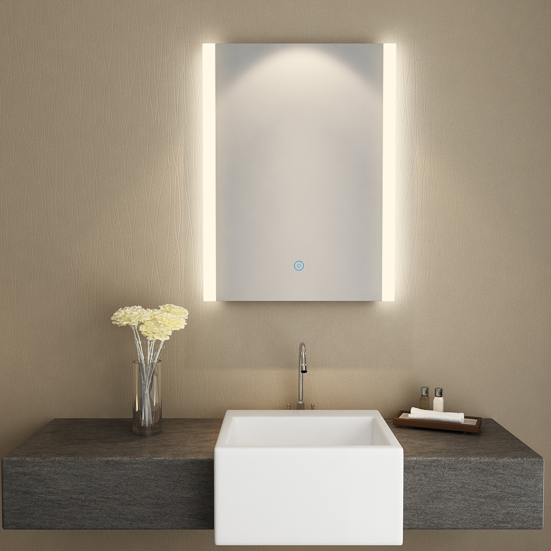 Details About SUNNY SHOWER LED Backlit Bathroom Vanity Mirror Touch Button  Warm White Fogless