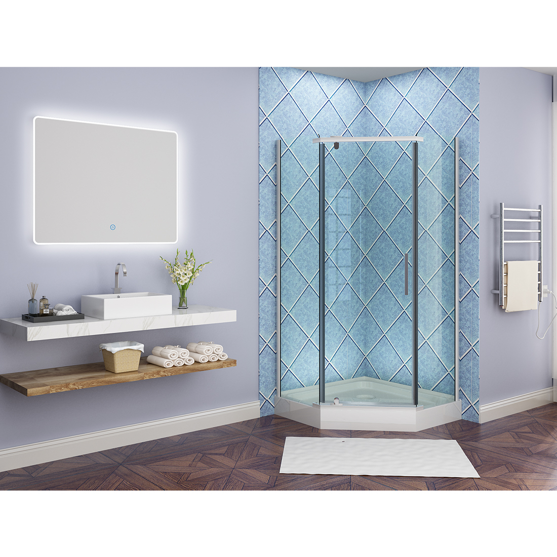SUNNY SHOWER LED Bathroom Vanity Mirror w/ Touch Button vertically ...