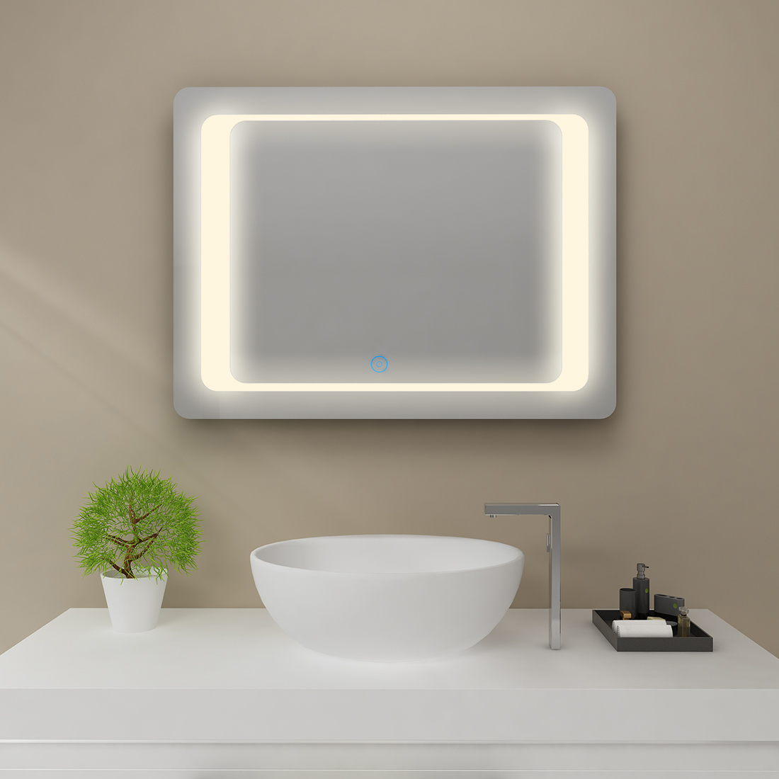 Details About SUNNY Intelligent Frameless Bathroom Mirror LED Light Touch  Screen Warm White