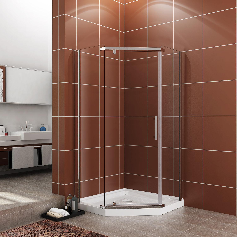 Details About Sunny Shower Neo Angle Semi Frameless Corner Shower Door Enclosure 36 3 5 Base