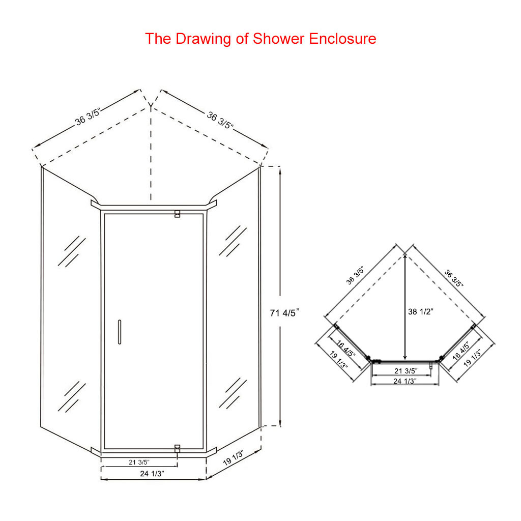 Sunny Shower Neo Angle Corner Semi Frameless Shower Door