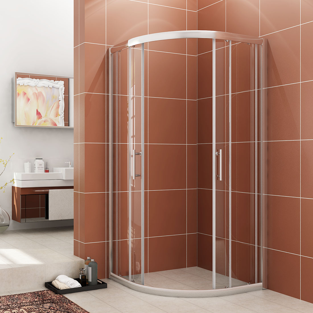 Details About Sunny Shower Semi Frameless Corner Neo Round Sliding Shower Enclosure In Chrome