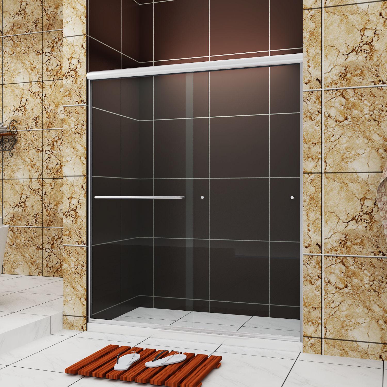 Details About Sunny Shower Semi Frameless Bypass Sliding Shower Doors 60 W Brushed Nickel