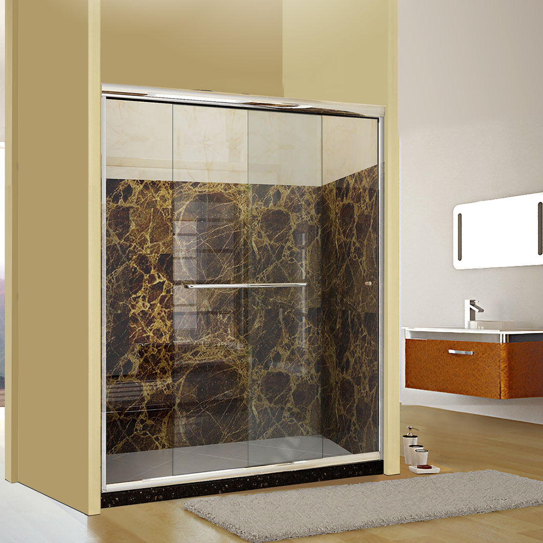 Bathroom Sliding Glass Doors: SUNNY SHOWER Semi-frameless 2 Sliding Shower Doors 56-60