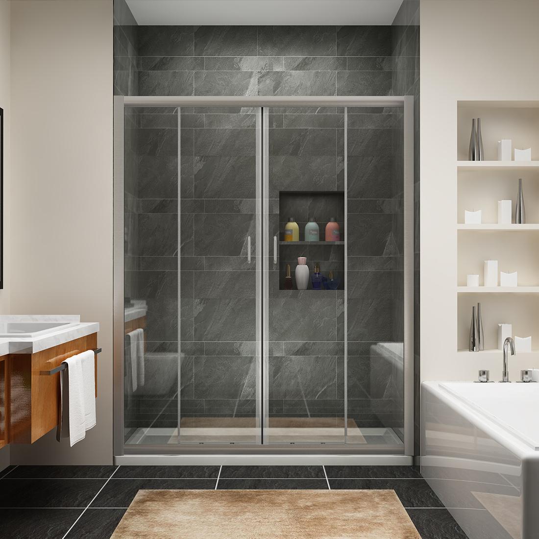 Sunny Shower 60 Quot Semi Frameless Sliding Shower Doors 5 16