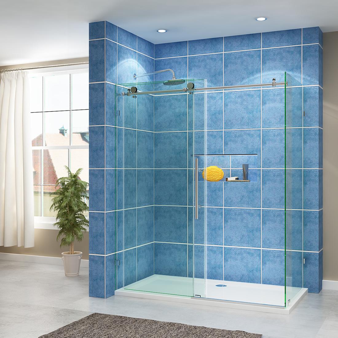 SUNNY DEPOT Frameless Sliding Shower Enclosure Brushed Nickel 60\
