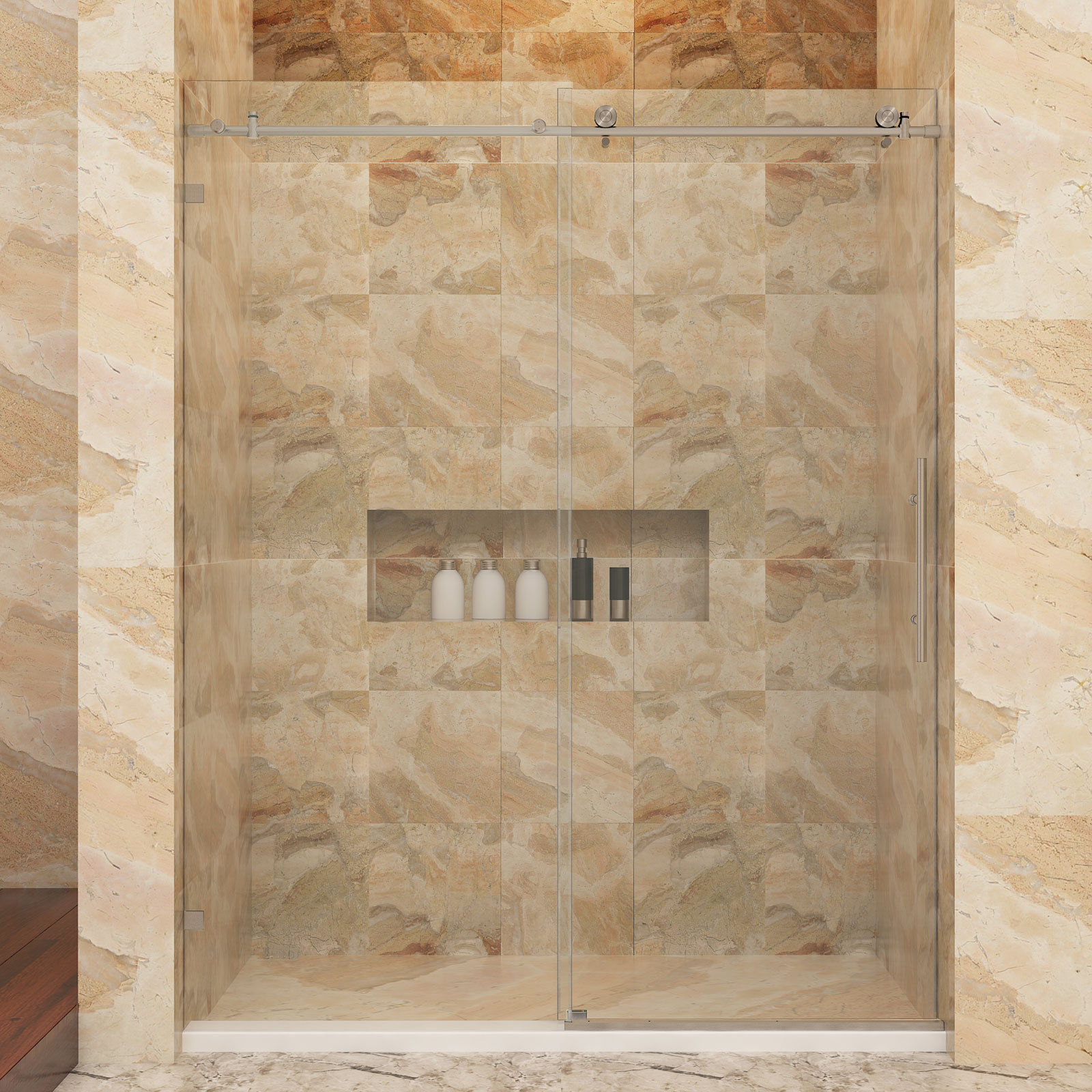 SUNNY SHOWER Fully Frameless Sliding Glass Shower Door 48\